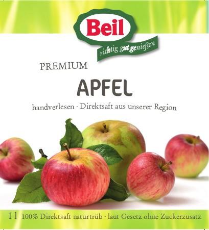 Beil Apfelsaft Naturtrüb 100% Direktsaft.6x1l
